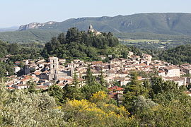 A general view of Forcalquier, with the Luberon Massif in the background