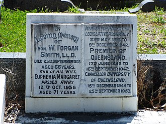 William Forgan Smith - William Forgan Smith's headstone at Brisbane's Toowong Cemetery.