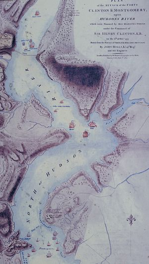 Peekskill, New York - Fort Independence on the Hudson, depicted on Sir Henry Clinton's battle map of October 6, 1777