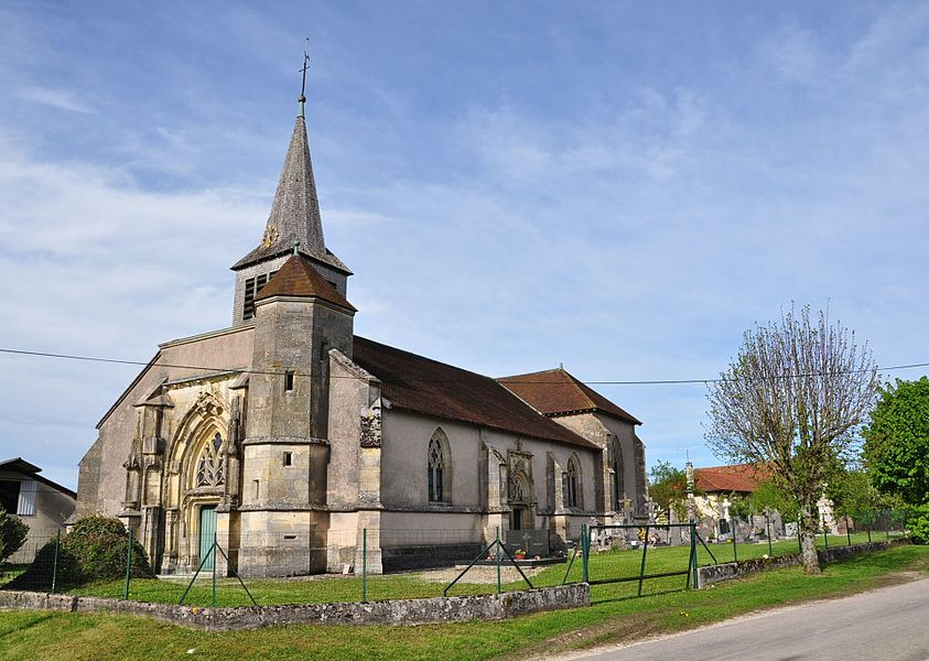 Parish Church of St. John the Baptist and cemetery of Foucaucourt-sur-Thabas (Canton Seuil-d'Argonne, Meuse department, Lorraine region, France). This church is a listed building.
