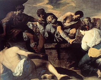 Francesco Fracanzano - St. Gregory of Armenia is cast into the pit, 1635, from the San Gregorio Armeno, Naples