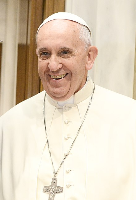 Pope Francis, the current leader of the Catholic Church Franciscus in 2015.jpg