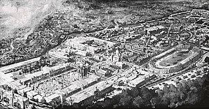White City Stadium - The 1908 Franco-British Exhibition site seen from the air. The White City Stadium is to the right of the view