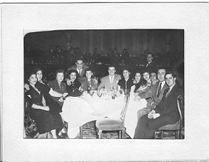 Frankie Carle - Frankie Carle (center-left, standing) at the Hotel Pennsylvania in Manhattan