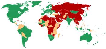 地圖顯示了自由之家組織2007年的報告內,有關每個國家自由程度的分類。    自由    部分自由    不自由