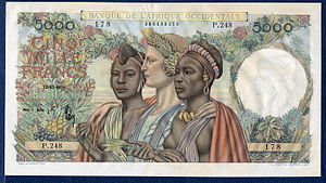 French West African franc - French West Africa 5000 Francs banknote of 1950.