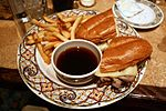 French dip sandwich with jus on the side