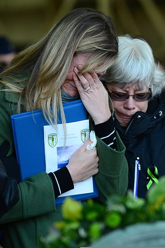 Crying - Two women weep at a funeral.