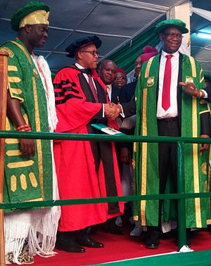 University of Nigeria, Nsukka - from the left Oni of Ife and Chancellor of the University of Nigeria, Nsukka Oba Adeyeye Eniitan Ogunwusi,CEO of Oil Serv Nigeria Emeka Okwosa and Current Vice Chancellor of the University of Nigeria, Nsukka Benjamin Ozumba