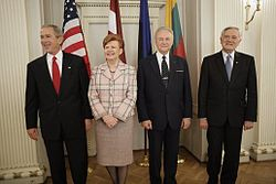 Presidents of the Baltic states with the President of the United States in 2005