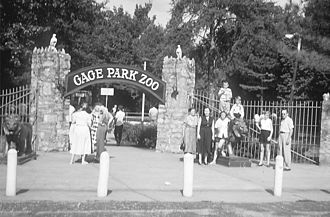 Topeka Zoo - Entrance gate, c. 1912. The zoo was originally known as the Gage Park Zoo.