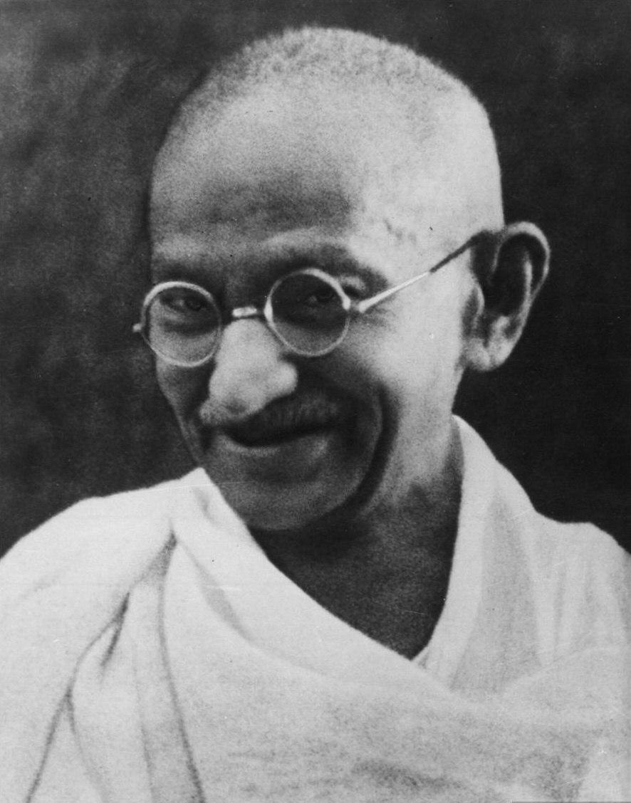 Gandhi smiling