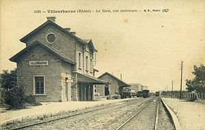 Villeurbanne's station in early 20th century (postcard)
