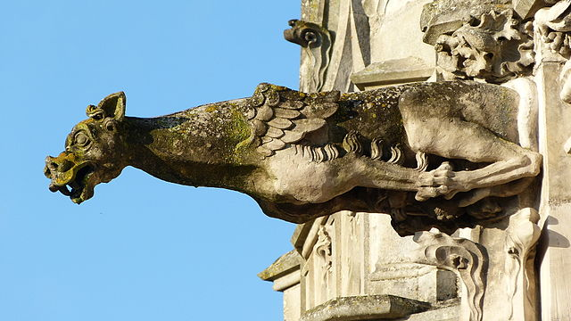 Gargoyle on the Chapel of Saint-Hubert in the gardens of the Château d'Amboise, via Wikimedia Commons