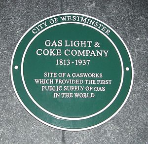 Gas Light and Coke Company - Commemorative plaque in Great Peter Street