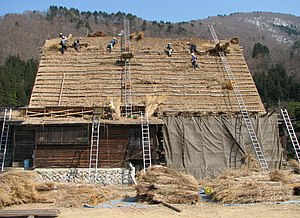 Historic Villages of Shirakawa-gō and Gokayama - Gassho-style farmhouse being re-thatched in 2008