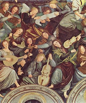 Violin - The cupola of Madonna dei Miracoli in Saronno, with angels playing violin, viola and cello, dates from 1535 and is one of the earliest depictions of the violin family