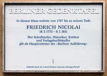 Berliner Gedenktafel am Haus Brüderstraße 13, in Berlin-Mitte (Quelle: Wikimedia)