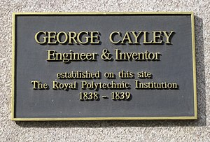 George Cayley - Plaque at 309 Regent Street