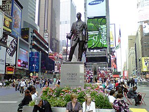 George M. Cohan (sculpture) - The statue in 2011