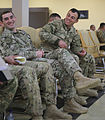 Georgian Land Forces soldiers share a laugh while on a break during a noncommissioned officer seminar conducted by U.S. Marines March 20, 2013, at Vaziani Air Base, Georgia, as part of exercise Agile Spirit 13 130320-M-ZP546-026.jpg