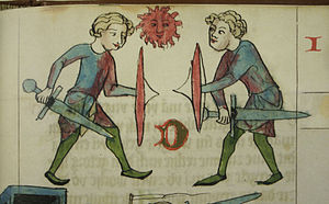 "Duel - Depiction of a judicial combat in the Dresden codex of the Sachsenspiegel (early to mid-14th century), illustrating the provision that the two combatants must ""share the sun"", i.e. align themselves perpendicular to the Sun so that neither has an advantage."