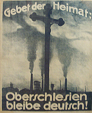 Upper Silesia plebiscite - A German Propaganda poster: Prayer of the Homeland: Upper Silesia remain German!