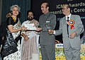Ghulam Nabi Azad presenting the ICMR Kshanika Oration award to Dr. Soumya Swaminathan, at the ICMR awards presentation function, in New Delhi. The Minister of State for Health and Family Welfare.jpg