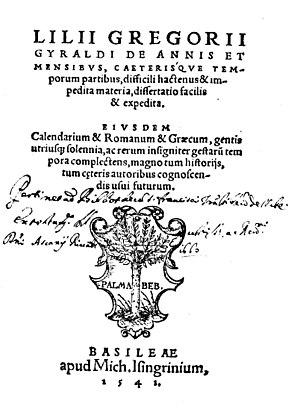 Giglio Gregorio Giraldi - De annis et mensibus, caeterisque temporum partibus, 1541