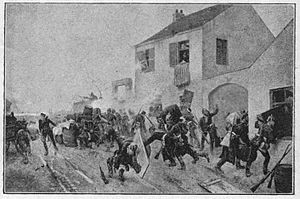 Battle of Beaune-la-Rolande - Prussian troops barricading the streets of Beaune-la-Rolande