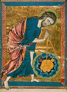 """Early science, particularly geometry and astronomy/astrology, was connected to the divine for most medieval scholars. Notice, even, the circular shape of the halo. The compass in this 13th century manuscript is a symbol of God's act of Creation, as many believed that there was something intrinsically """"divine"""" or """"perfect"""" that could be found in circles"""