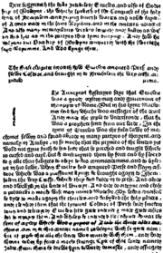 Facsimile of page 1 of Godefrey of Boloyne, printed by Caxton, London, 1481.  The Prologue, at top of page, begins: Here begynneth the boke Intituled Eracles, and also Godefrey of Boloyne, the whiche speketh of the Conquest of the holy lande of Jherusalem. The blank space on this page was for the insertion by hand of an illuminated initial T.