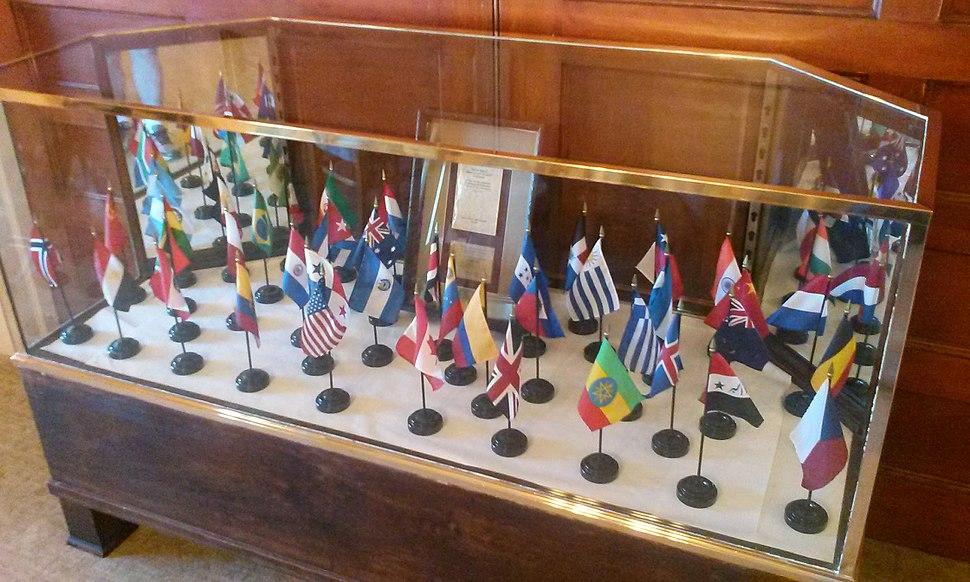 Gold Room Bretton Woods Participating Nations Display Case
