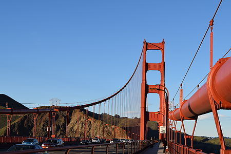 Golden Gate Bridge - Wikipedia on the grand canyon map, manhattan bridge map, san francisco map, throgs neck bridge map, triborough bridge map, carquinez bridge map, fisherman's wharf map, bridge of the gods map, hoover dam map, tacoma narrows bridge map, delaware memorial bridge map, golden gate transit map, williamsburg bridge map, bay bridge map, coit tower map, new river gorge bridge map, san diego map, bay area map, mackinac bridge map, brooklyn bridge on map,
