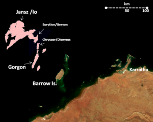 Gorgon gas project - Location of some of the Greater Gorgon gas fields in relation to Barrow Island and the adjacent coastline