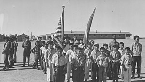 Granada War Relocation Center - Boy Scout Memorial Day parade at the Granada War Relocation Center, Amache, Colorado, 1943.