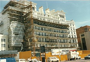 Brighton hotel bombing - The Grand Hotel, Brighton, 1986 (restoration almost completed after bomb damage)