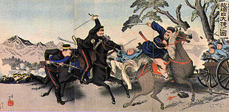 Battle of Lushunkou - Scene of the battle of Lunshunkou. Ukiyo-e print by Adachi Ginkō dated November 1894
