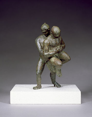Bronze statuette depicting two Greek wrestlers mid-throw - Greek Palé (Wrestling)