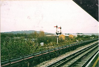Acton–Northolt line - Semaphore signals at Greenford station in 2002.