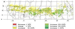 Sahel drought - Image: Greening Sahel 1982 1999