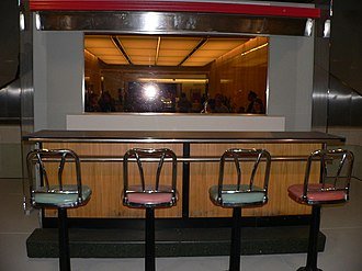Lunch counter - A section of the standard wood, stainless steel and chrome lunch counter from the Woolworth's five and dime in Greensboro, North Carolina. It has been preserved in the National Museum of American History, because it was where the series of Greensboro sit-ins, protests against racial segregation caused by Jim Crow laws, began.