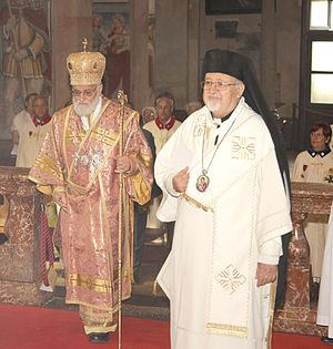 Patriarch - Melkite Catholic Patriarch Gregory III Laham of Antioch with Archbishop Jules Joseph Zerey
