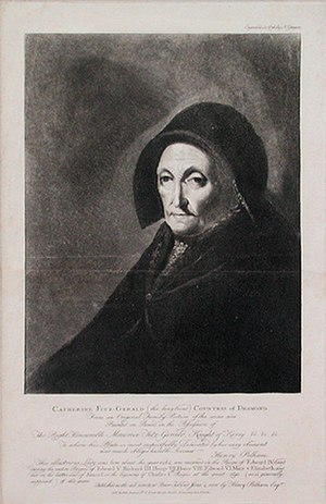 Katherine FitzGerald, Countess of Desmond - Nathaniel Grogan's 1806 engraving of Lord Kerry's portrait of Katherine, Countess of Desmond