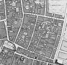 A hand-drawn colourless map shows a narrow network of streets and alleys.  Each is named.  The Church of St Giles is visible, as are parts of Moorfields to the east.