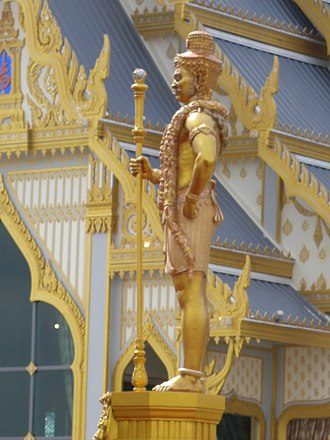 Vaiśravaṇa - Statue of Vaiśravaṇa as the guardian at the royal crematorium of King Bhumibol Adulyadej of Thailand, 2017.