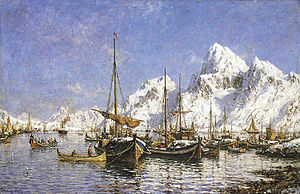 "Norwegian art - Gunnar Berg's From Svolvær harbour, c. 1890. Being one of ""the young dead"", Berg is considered one of the finest painters of northern Norwegian nature."