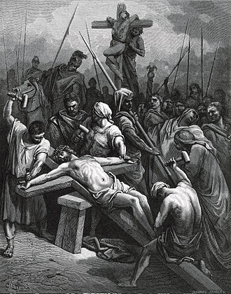 Wood engraving - The modified technique in the wood engraving Crucifixion of Jesus by Gustave Doré.