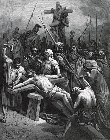 Crucifixion of Jesus on a two-beamed cross, from the Sainte Bible (1866) Gustave Dore - Crucifixion of Jesus.jpg