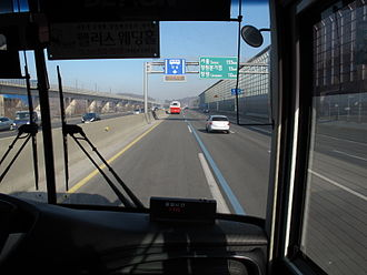 Transport in South Korea - Highway bus lane on Gyeongbu Expressway in South Korea.